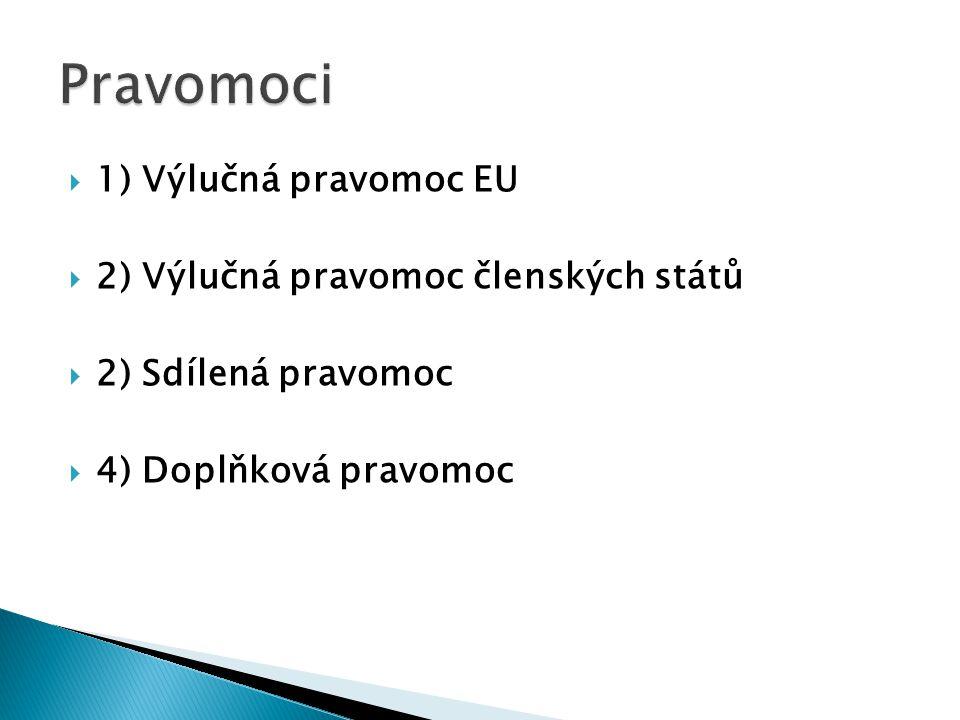  1) Výlučná pravomoc EU  2) Výlučná pravomoc členských států  2) Sdílená pravomoc  4) Doplňková pravomoc