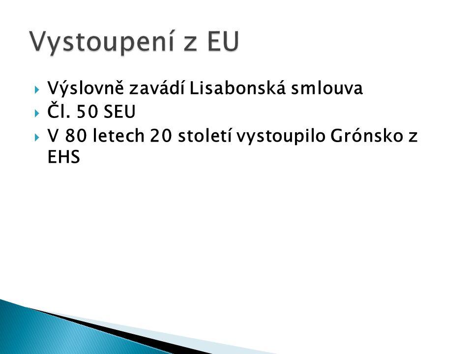  Výslovně zavádí Lisabonská smlouva  Čl. 50 SEU  V 80 letech 20 století vystoupilo Grónsko z EHS