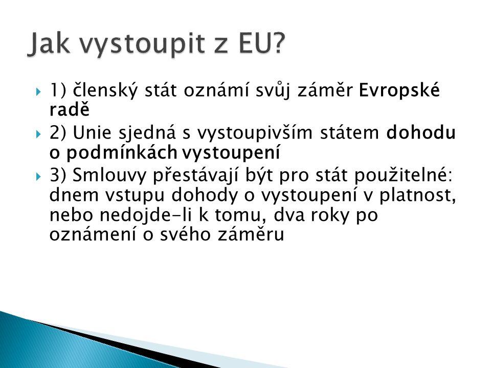  1) členský stát oznámí svůj záměr Evropské radě  2) Unie sjedná s vystoupivším státem dohodu o podmínkách vystoupení  3) Smlouvy přestávají být pro stát použitelné: dnem vstupu dohody o vystoupení v platnost, nebo nedojde-li k tomu, dva roky po oznámení o svého záměru