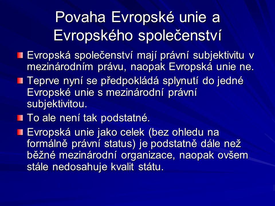 Povaha Evropské unie a Evropského společenství Evropská společenství mají právní subjektivitu v mezinárodním právu, naopak Evropská unie ne.