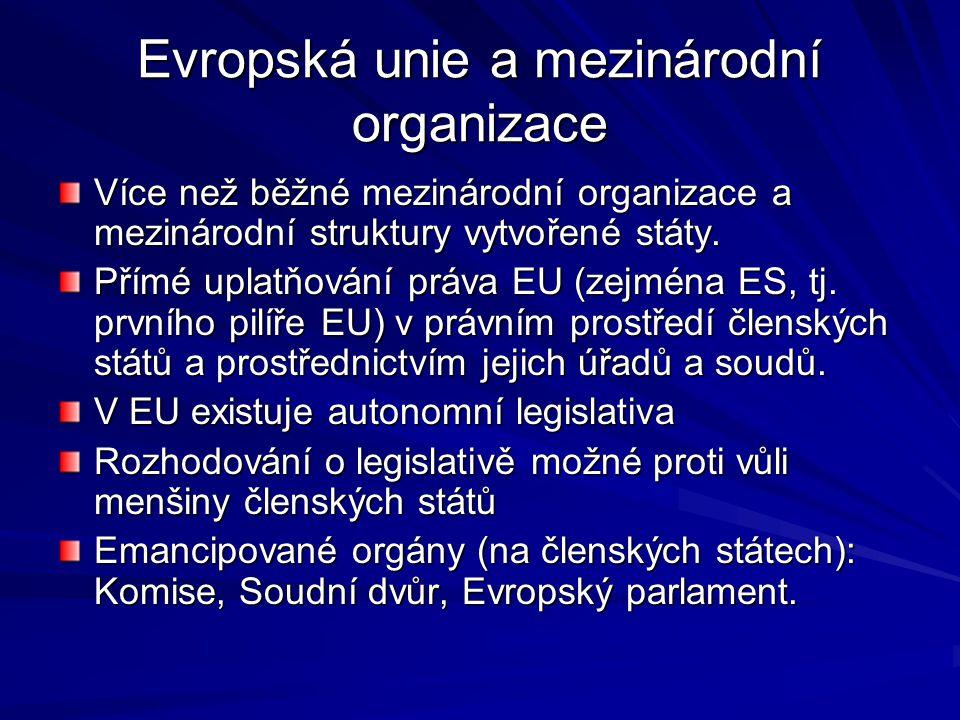 Evropská unie a mezinárodní organizace Více než běžné mezinárodní organizace a mezinárodní struktury vytvořené státy.