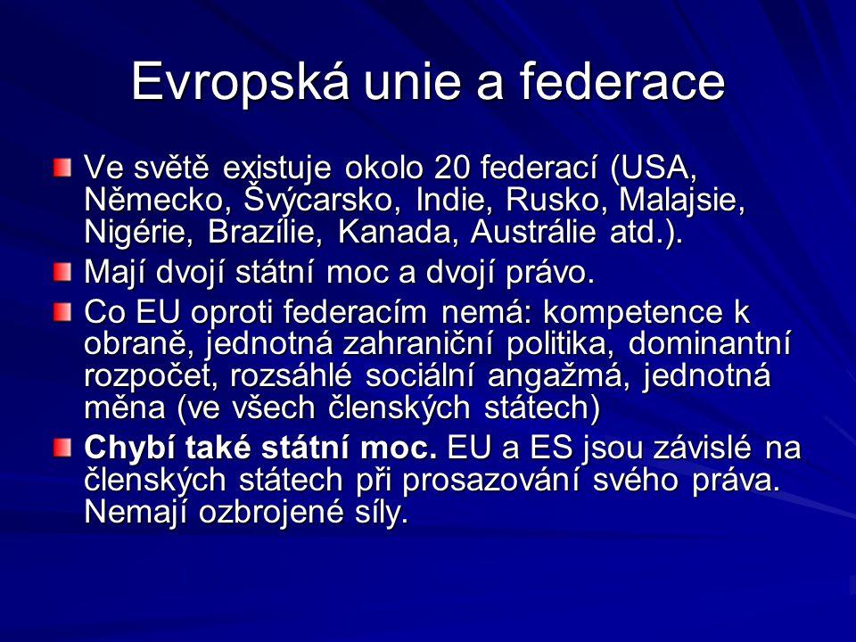 Evropská unie a federace Ve světě existuje okolo 20 federací (USA, Německo, Švýcarsko, Indie, Rusko, Malajsie, Nigérie, Brazílie, Kanada, Austrálie atd.).