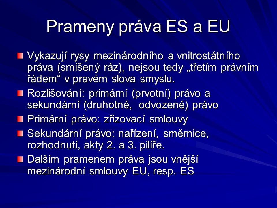 """Prameny práva ES a EU Vykazují rysy mezinárodního a vnitrostátního práva (smíšený ráz), nejsou tedy """"třetím právním řádem v pravém slova smyslu."""