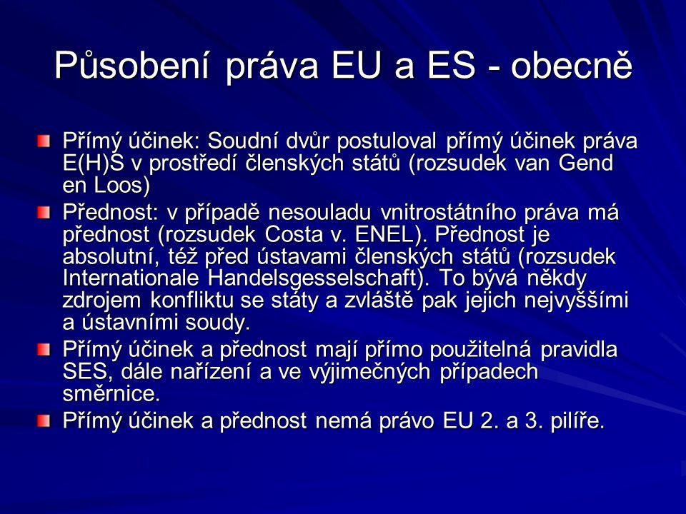 Působení práva EU a ES - obecně Přímý účinek: Soudní dvůr postuloval přímý účinek práva E(H)S v prostředí členských států (rozsudek van Gend en Loos) Přednost: v případě nesouladu vnitrostátního práva má přednost (rozsudek Costa v.