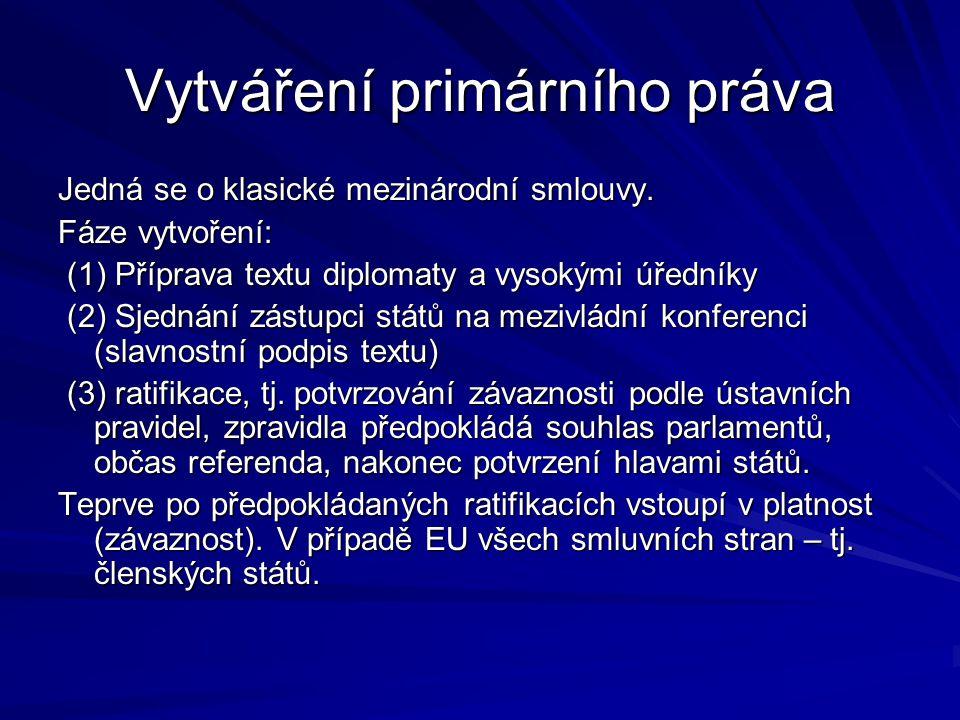 Vytváření primárního práva Jedná se o klasické mezinárodní smlouvy.