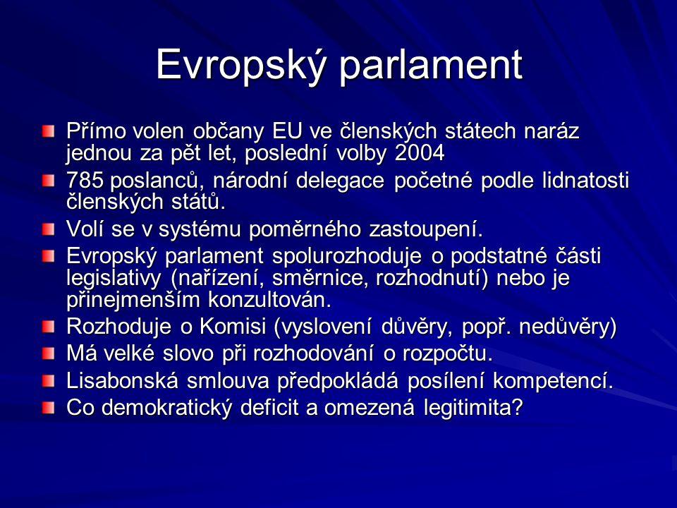 Evropský parlament Přímo volen občany EU ve členských státech naráz jednou za pět let, poslední volby 2004 785 poslanců, národní delegace početné podle lidnatosti členských států.