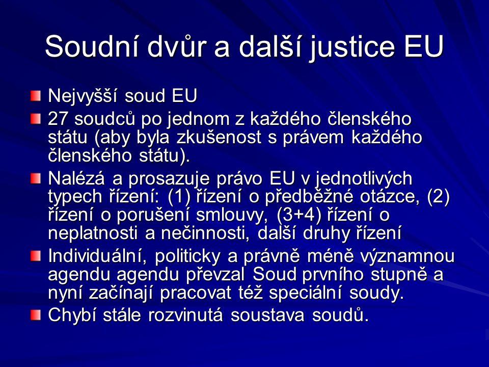 Soudní dvůr a další justice EU Nejvyšší soud EU 27 soudců po jednom z každého členského státu (aby byla zkušenost s právem každého členského státu).