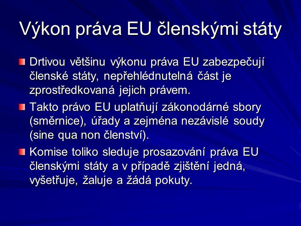 Výkon práva EU členskými státy Drtivou většinu výkonu práva EU zabezpečují členské státy, nepřehlédnutelná část je zprostředkovaná jejich právem.
