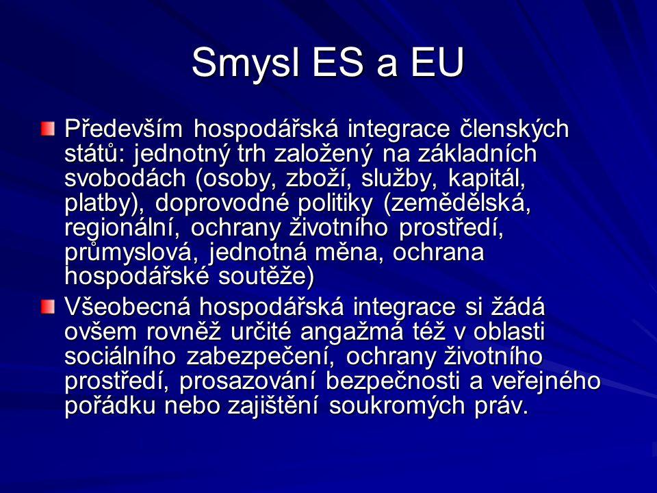 Smysl ES a EU Především hospodářská integrace členských států: jednotný trh založený na základních svobodách (osoby, zboží, služby, kapitál, platby), doprovodné politiky (zemědělská, regionální, ochrany životního prostředí, průmyslová, jednotná měna, ochrana hospodářské soutěže) Všeobecná hospodářská integrace si žádá ovšem rovněž určité angažmá též v oblasti sociálního zabezpečení, ochrany životního prostředí, prosazování bezpečnosti a veřejného pořádku nebo zajištění soukromých práv.