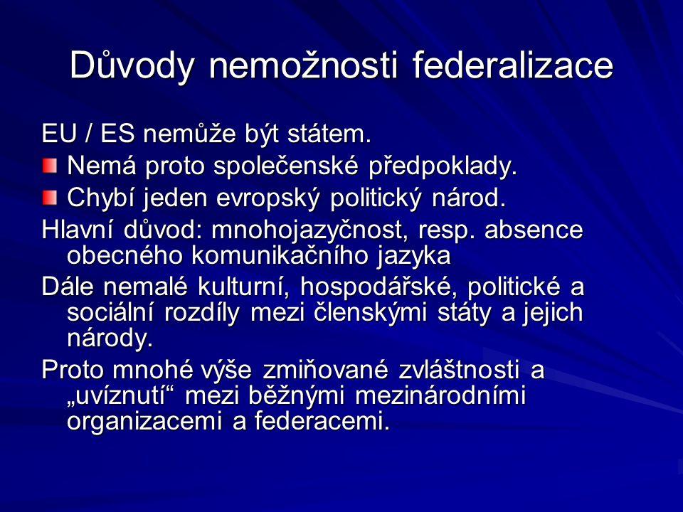 Důvody nemožnosti federalizace EU / ES nemůže být státem.