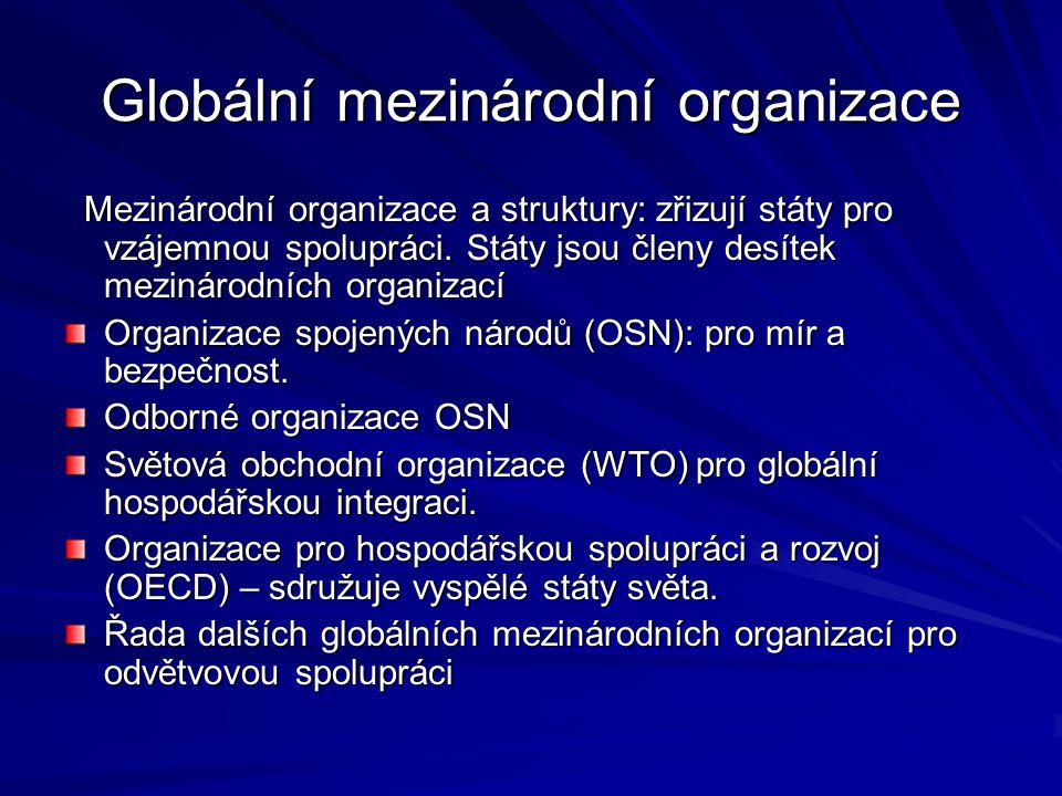 Globální mezinárodní organizace Mezinárodní organizace a struktury: zřizují státy pro vzájemnou spolupráci.