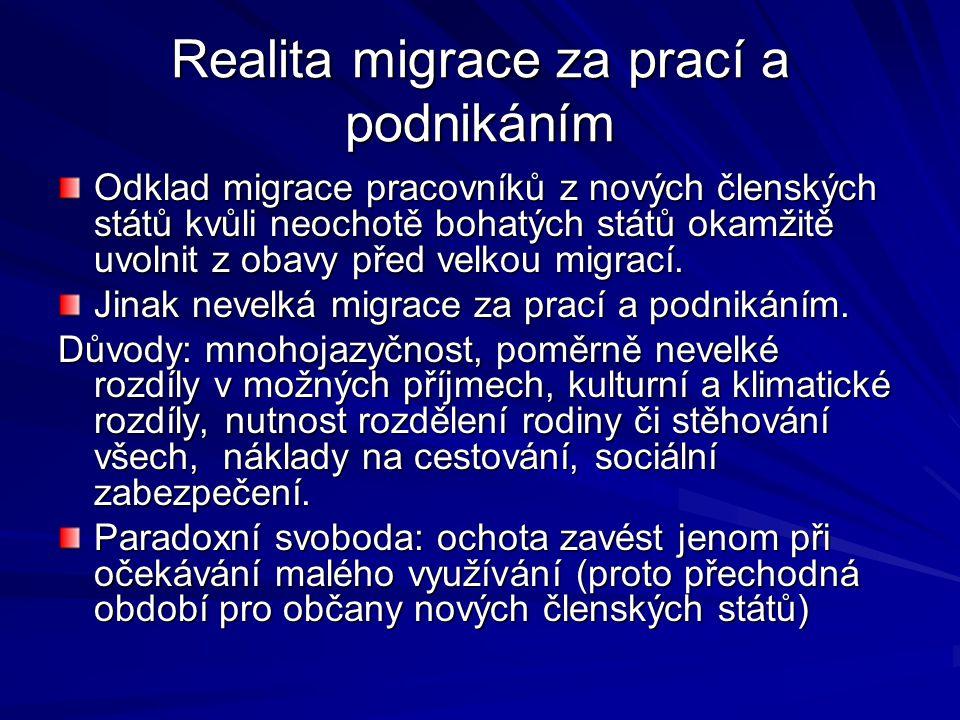 Realita migrace za prací a podnikáním Odklad migrace pracovníků z nových členských států kvůli neochotě bohatých států okamžitě uvolnit z obavy před velkou migrací.