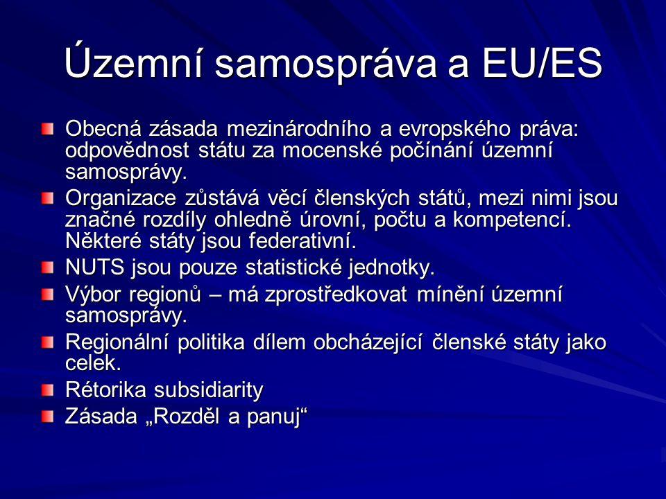 Územní samospráva a EU/ES Obecná zásada mezinárodního a evropského práva: odpovědnost státu za mocenské počínání územní samosprávy.