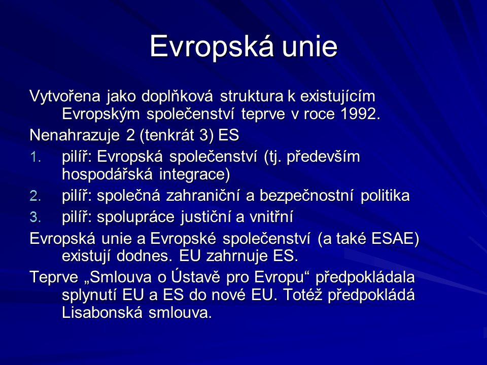 Jednotný vnitřní trh ES/EU Stupně hospodářské integrace států: (1) zóna volného obchodu zbožím (2) celní unie (3) společný trh (další liberalizace) (4) jednotný vnitřní trh (doprovodná opatření) (5) hospodářská a měnová unie (6) hypoteticky: sociální unie ES / EU dosáhly 4.