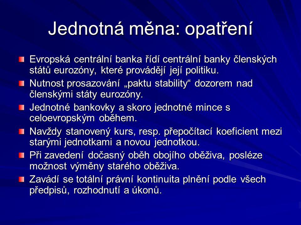 Jednotná měna: opatření Evropská centrální banka řídí centrální banky členských států eurozóny, které provádějí její politiku.