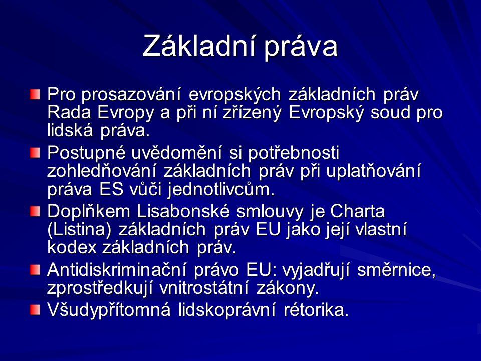 Základní práva Pro prosazování evropských základních práv Rada Evropy a při ní zřízený Evropský soud pro lidská práva.