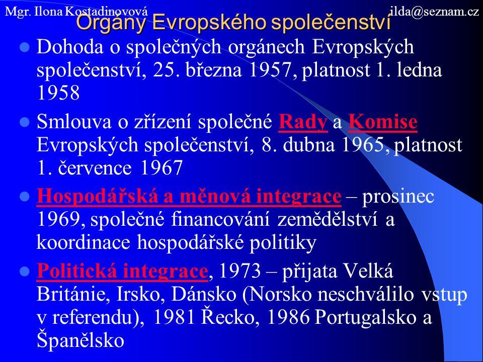 Orgány Evropského společenství Dohoda o společných orgánech Evropských společenství, 25. března 1957, platnost 1. ledna 1958 Smlouva o zřízení společn