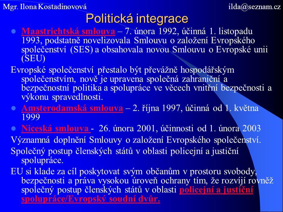Politická integrace Maastrichtská smlouva – 7. února 1992, účinná 1.