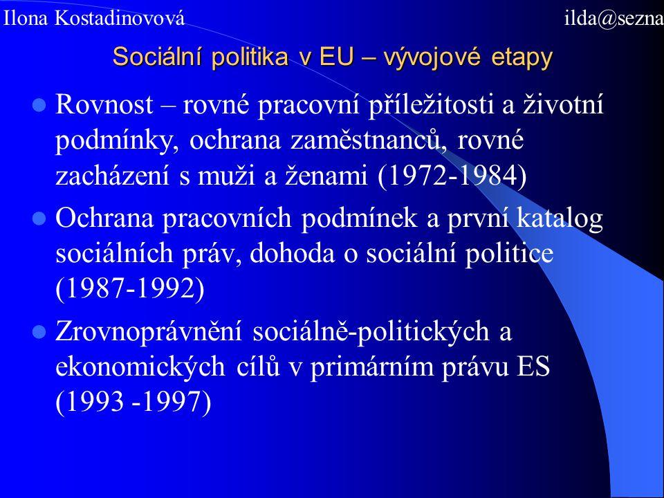 Sociální politika v EU – vývojové etapy Rovnost – rovné pracovní příležitosti a životní podmínky, ochrana zaměstnanců, rovné zacházení s muži a ženami (1972-1984) Ochrana pracovních podmínek a první katalog sociálních práv, dohoda o sociální politice (1987-1992) Zrovnoprávnění sociálně-politických a ekonomických cílů v primárním právu ES (1993 -1997) Mgr.