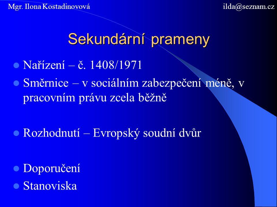 Sekundární prameny Nařízení – č.