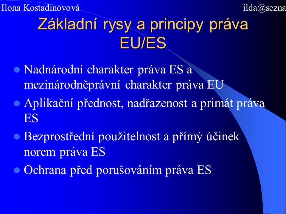 Základní rysy a principy práva EU/ES Nadnárodní charakter práva ES a mezinárodněprávní charakter práva EU Aplikační přednost, nadřazenost a primát práva ES Bezprostřední použitelnost a přímý účinek norem práva ES Ochrana před porušováním práva ES Mgr.