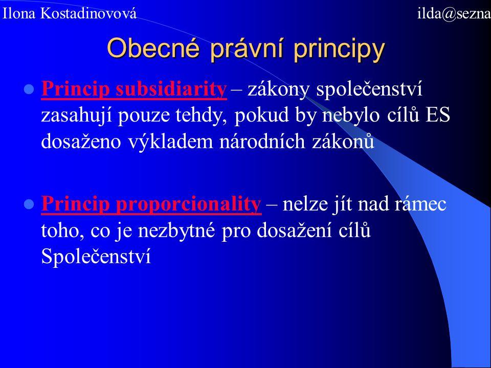 Obecné právní principy Princip subsidiarity – zákony společenství zasahují pouze tehdy, pokud by nebylo cílů ES dosaženo výkladem národních zákonů Princip proporcionality – nelze jít nad rámec toho, co je nezbytné pro dosažení cílů Společenství Mgr.