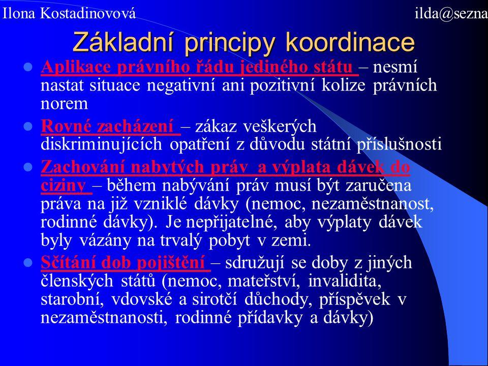 Základní principy koordinace Aplikace právního řádu jediného státu – nesmí nastat situace negativní ani pozitivní kolize právních norem Rovné zacházen