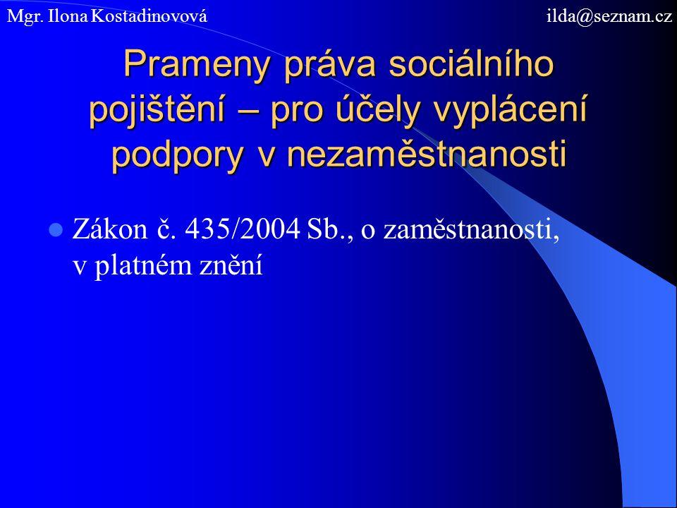 Prameny práva sociálního pojištění – pro účely vyplácení podpory v nezaměstnanosti Zákon č. 435/2004 Sb., o zaměstnanosti, v platném znění Mgr. Ilona