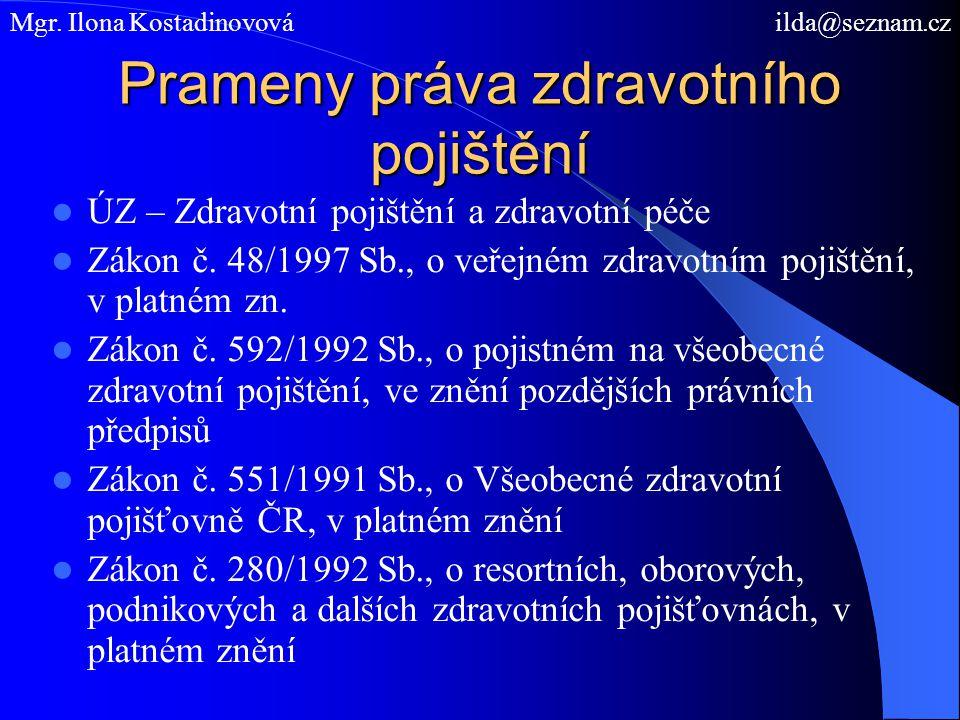 Prameny práva zdravotního pojištění ÚZ – Zdravotní pojištění a zdravotní péče Zákon č. 48/1997 Sb., o veřejném zdravotním pojištění, v platném zn. Zák