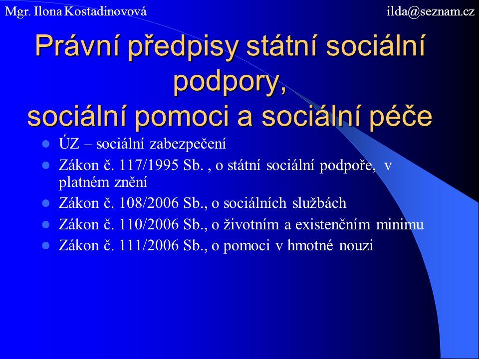 Právní předpisy státní sociální podpory, sociální pomoci a sociální péče ÚZ – sociální zabezpečení Zákon č. 117/1995 Sb., o státní sociální podpoře, v