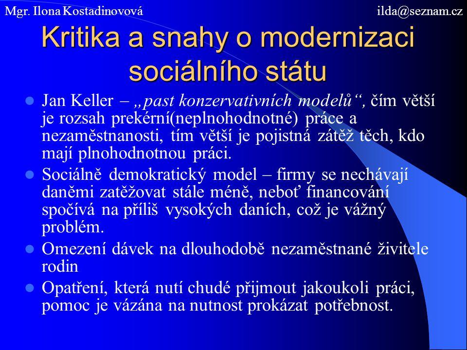 """Kritika a snahy o modernizaci sociálního státu Jan Keller – """"past konzervativních modelů , čím větší je rozsah prekérní(neplnohodnotné) práce a nezaměstnanosti, tím větší je pojistná zátěž těch, kdo mají plnohodnotnou práci."""