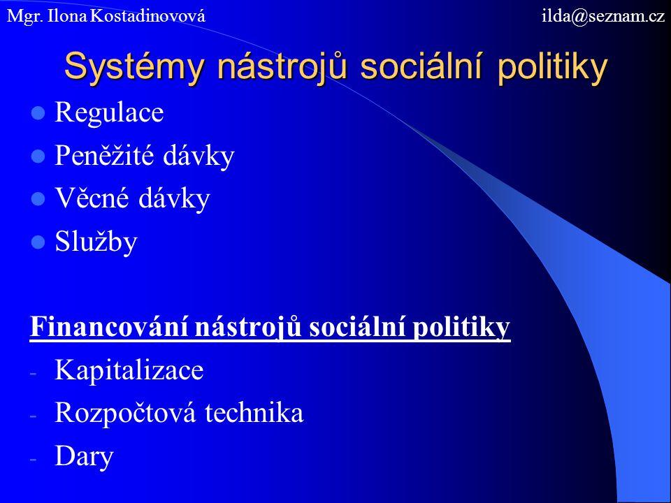 Systémy nástrojů sociální politiky Regulace Peněžité dávky Věcné dávky Služby Financování nástrojů sociální politiky - Kapitalizace - Rozpočtová technika - Dary Mgr.