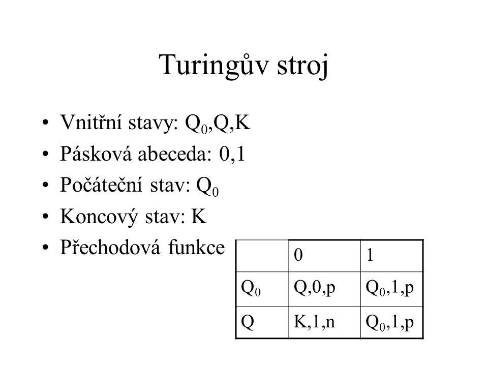Turingův stroj Vnitřní stavy: Q 0,Q,K Pásková abeceda: 0,1 Počáteční stav: Q 0 Koncový stav: K Přechodová funkce 01 Q0Q0 Q,0,pQ 0,1,p QK,1,nQ 0,1,p