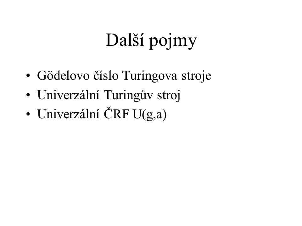 Další pojmy Gödelovo číslo Turingova stroje Univerzální Turingův stroj Univerzální ČRF U(g,a)