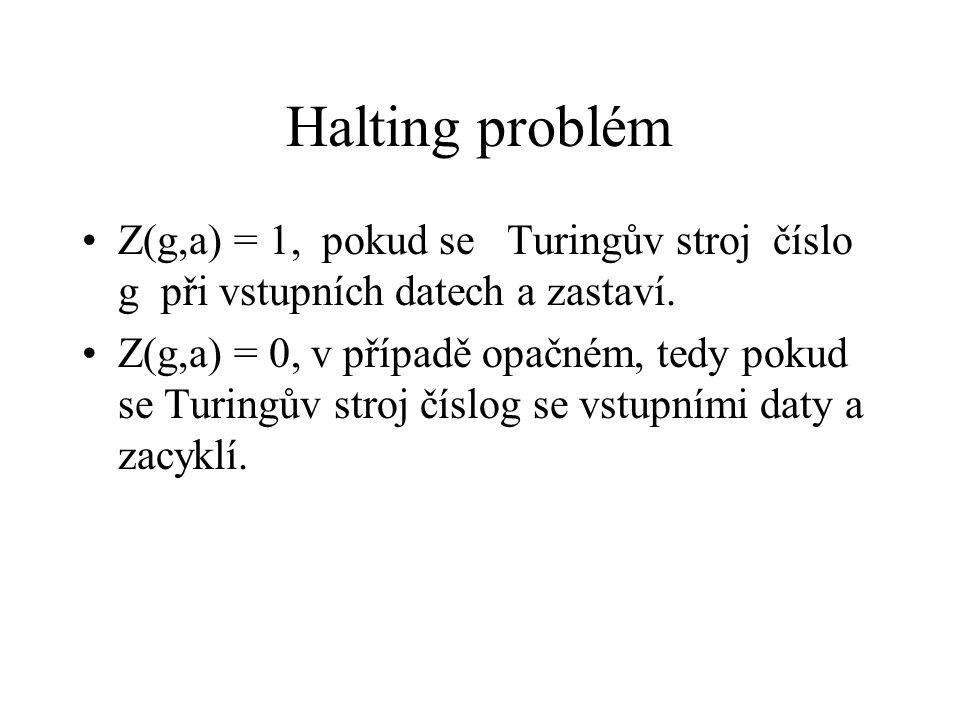 Halting problém Z(g,a) = 1, pokud se Turingův stroj číslo g při vstupních datech a zastaví.