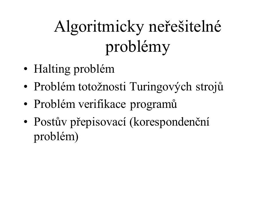 Algoritmicky neřešitelné problémy Halting problém Problém totožnosti Turingových strojů Problém verifikace programů Postův přepisovací (korespondenční problém)