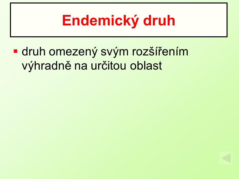  druh omezený svým rozšířením výhradně na určitou oblast Endemický druh
