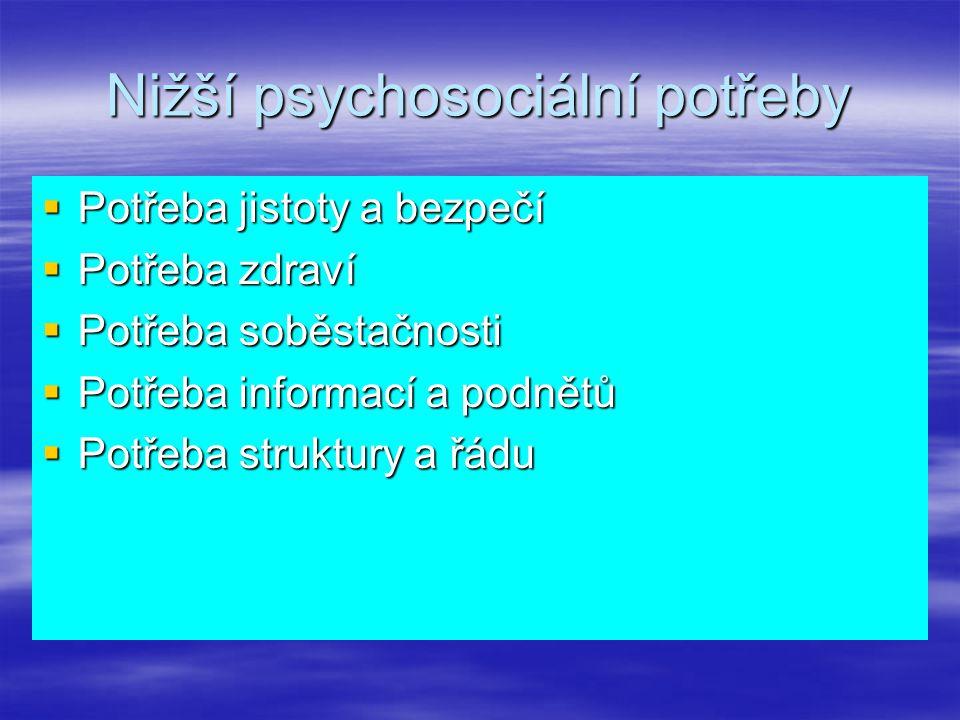 Nižší psychosociální potřeby  Potřeba jistoty a bezpečí  Potřeba zdraví  Potřeba soběstačnosti  Potřeba informací a podnětů  Potřeba struktury a řádu