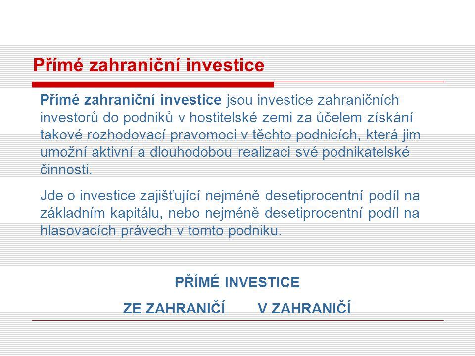 Přímé zahraniční investice Přímé zahraniční investice jsou investice zahraničních investorů do podniků v hostitelské zemi za účelem získání takové roz