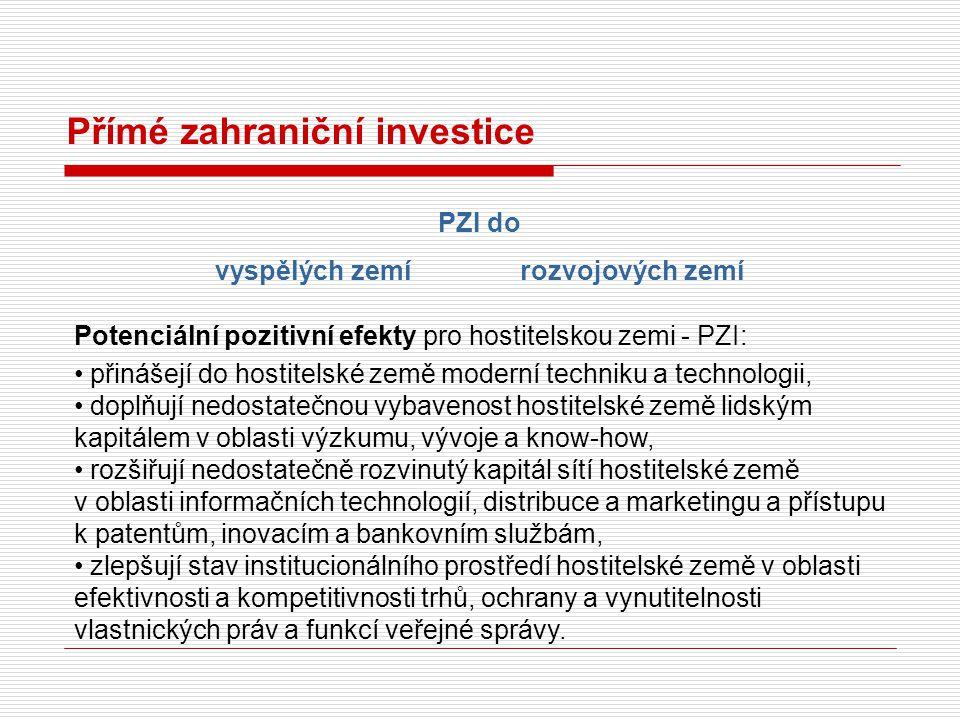 Přímé zahraniční investice Potenciální pozitivní efekty pro hostitelskou zemi - PZI: přinášejí do hostitelské země moderní techniku a technologii, dop