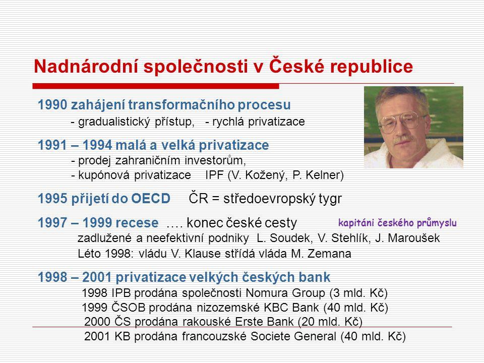 Nadnárodní společnosti v České republice 1990 zahájení transformačního procesu - gradualistický přístup, - rychlá privatizace 1991 – 1994 malá a velká