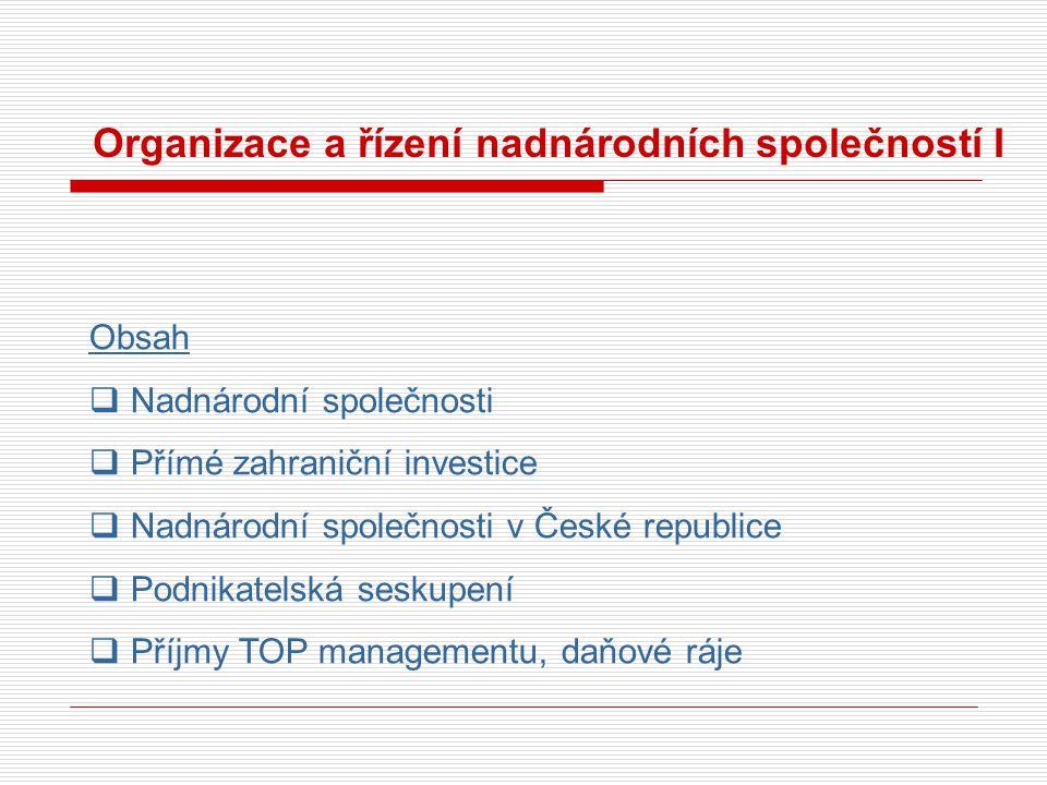 Organizace a řízení nadnárodních společností I Obsah  Nadnárodní společnosti  Přímé zahraniční investice  Nadnárodní společnosti v České republice