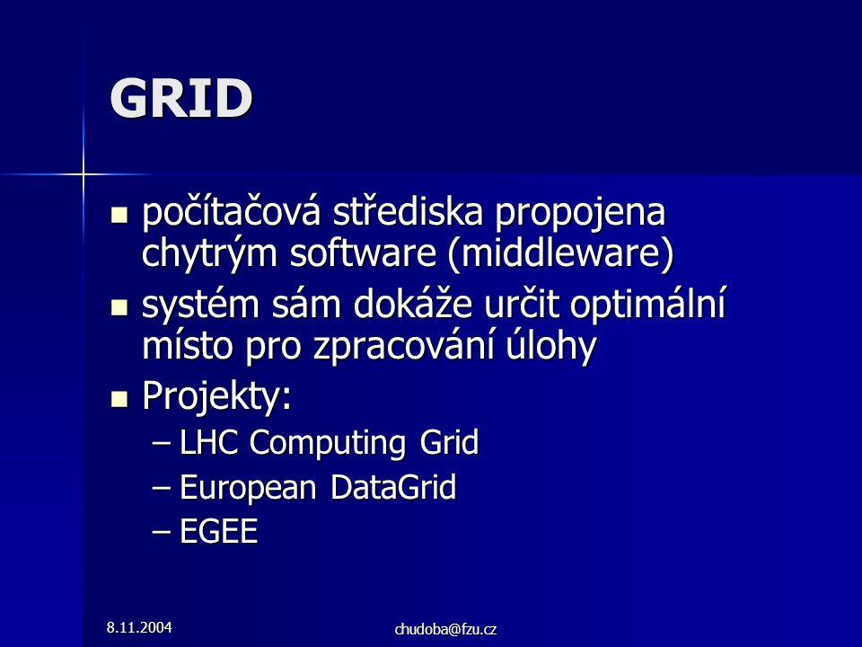 8.11.2004 chudoba@fzu.cz GRID počítačová střediska propojena chytrým software (middleware) počítačová střediska propojena chytrým software (middleware