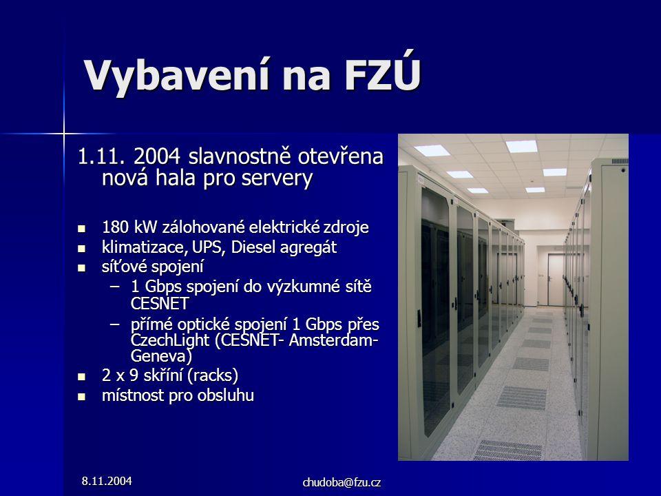 8.11.2004 chudoba@fzu.cz Vybavení na FZÚ 1.11. 2004 slavnostně otevřena nová hala pro servery 180 kW zálohované elektrické zdroje 180 kW zálohované el