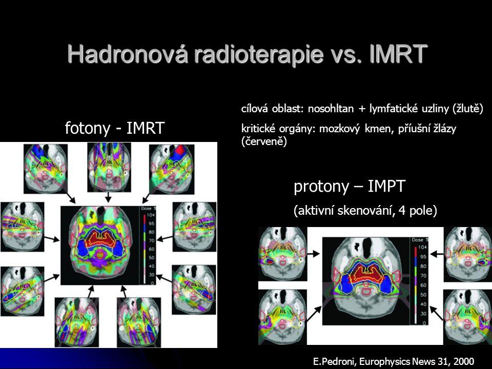 Hadronová radioterapie vs. IMRT fotony - IMRT protony – IMPT (aktivní skenování, 4 pole) E.Pedroni, Europhysics News 31, 2000 cílová oblast: nosohltan