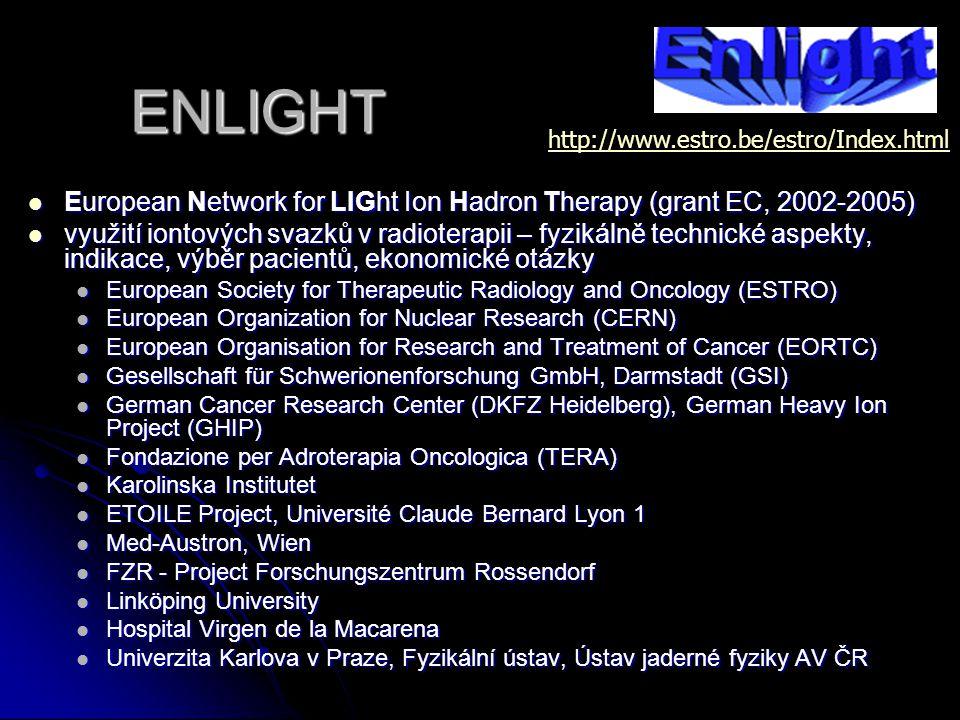 ENLIGHT European Network for LIGht Ion Hadron Therapy (grant EC, 2002-2005) European Network for LIGht Ion Hadron Therapy (grant EC, 2002-2005) využit