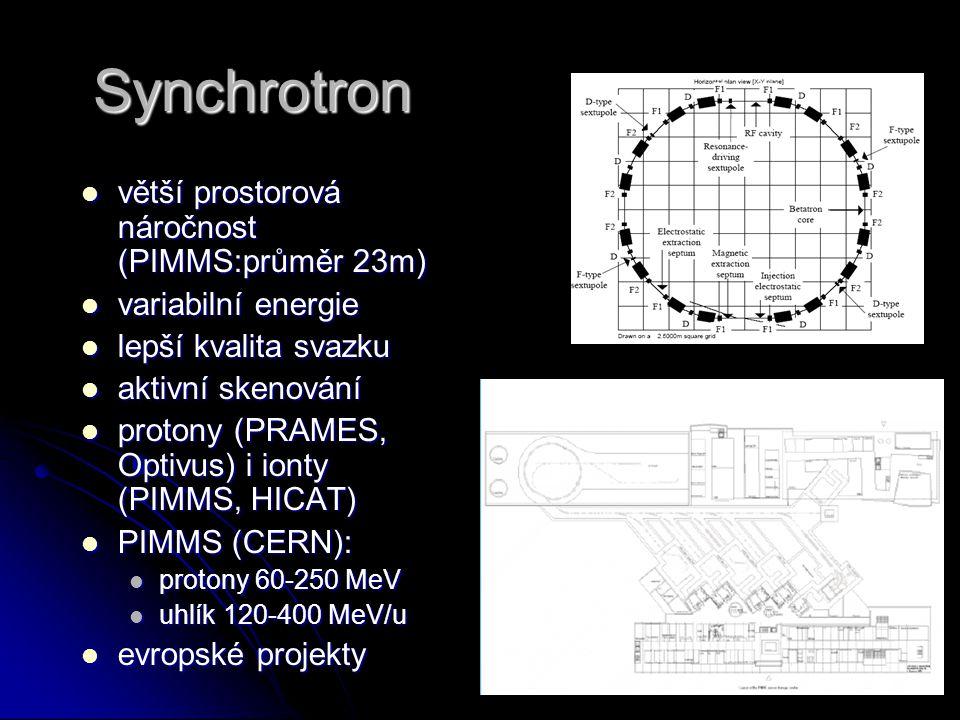 Synchrotron větší prostorová náročnost (PIMMS:průměr 23m) větší prostorová náročnost (PIMMS:průměr 23m) variabilní energie variabilní energie lepší kv