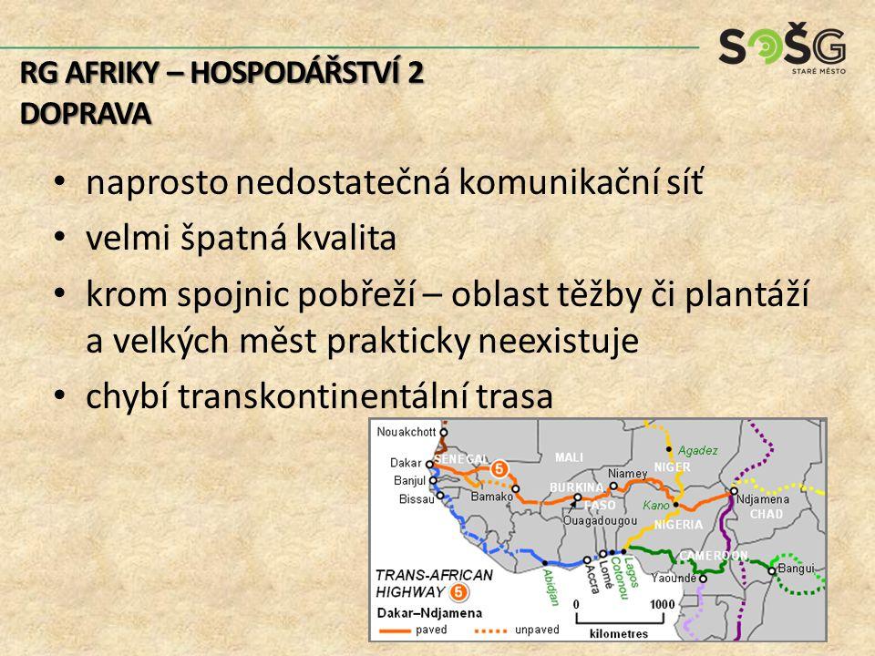 silniční doprava: – dominuje – řada cest nezpevněných železniční doprava: – poslední kontinent, – různé rozchody – nenavazuje RG AFRIKY – HOSPODÁŘSTVÍ 2 DOPRAVA