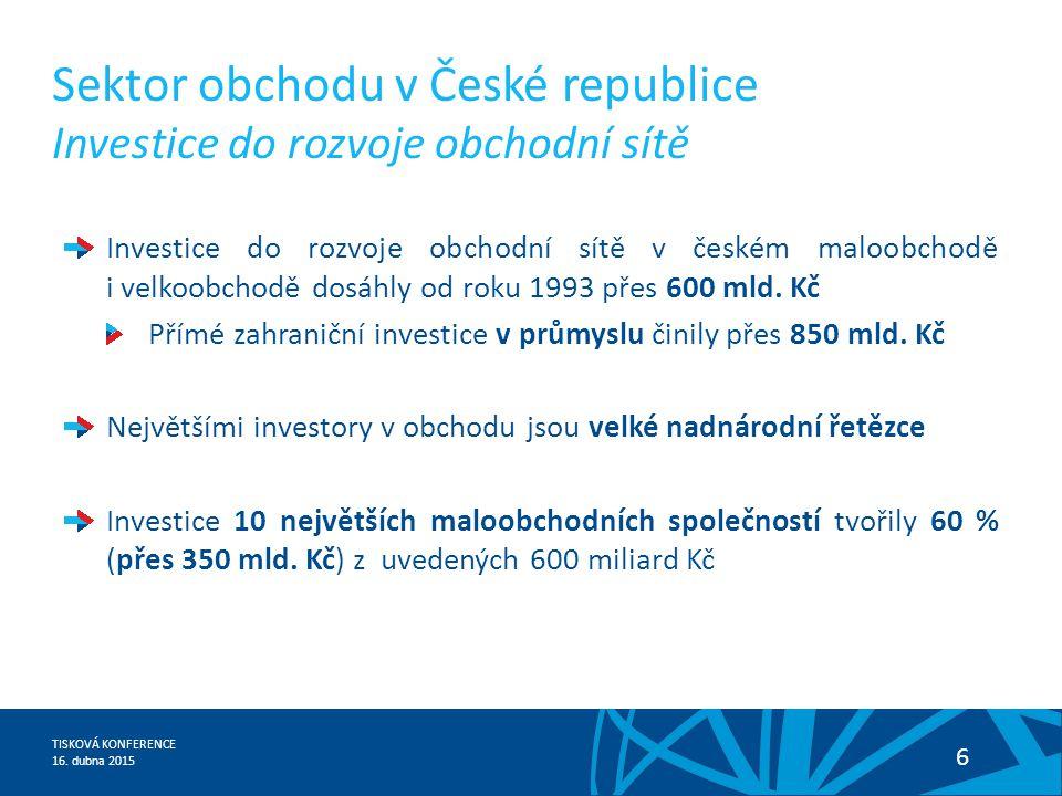 TISKOVÁ KONFERENCE 16. dubna 2015 6 Investice do rozvoje obchodní sítě v českém maloobchodě i velkoobchodě dosáhly od roku 1993 přes 600 mld. Kč Přímé