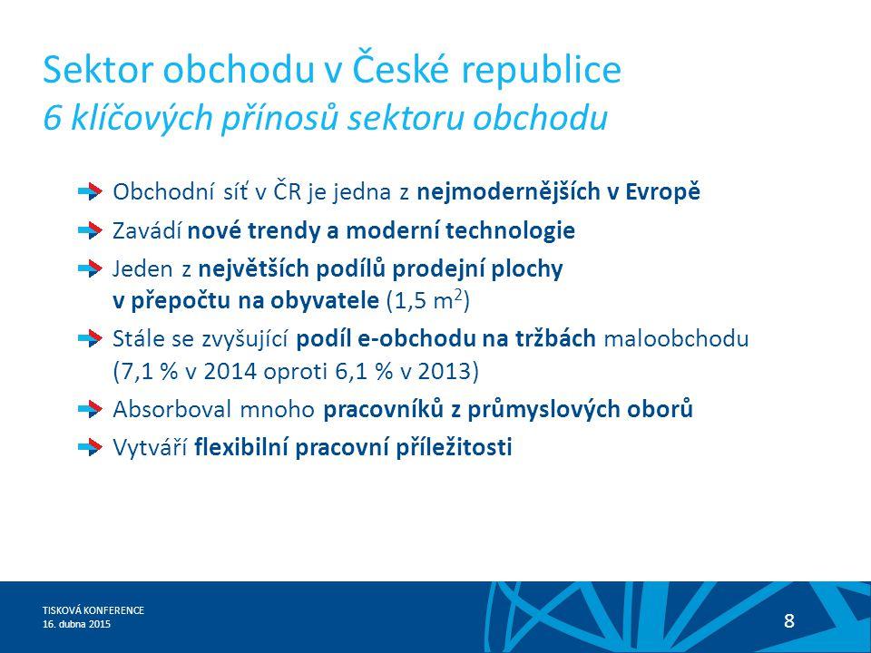 TISKOVÁ KONFERENCE 16. dubna 2015 8 Obchodní síť v ČR je jedna z nejmodernějších v Evropě Zavádí nové trendy a moderní technologie Jeden z největších